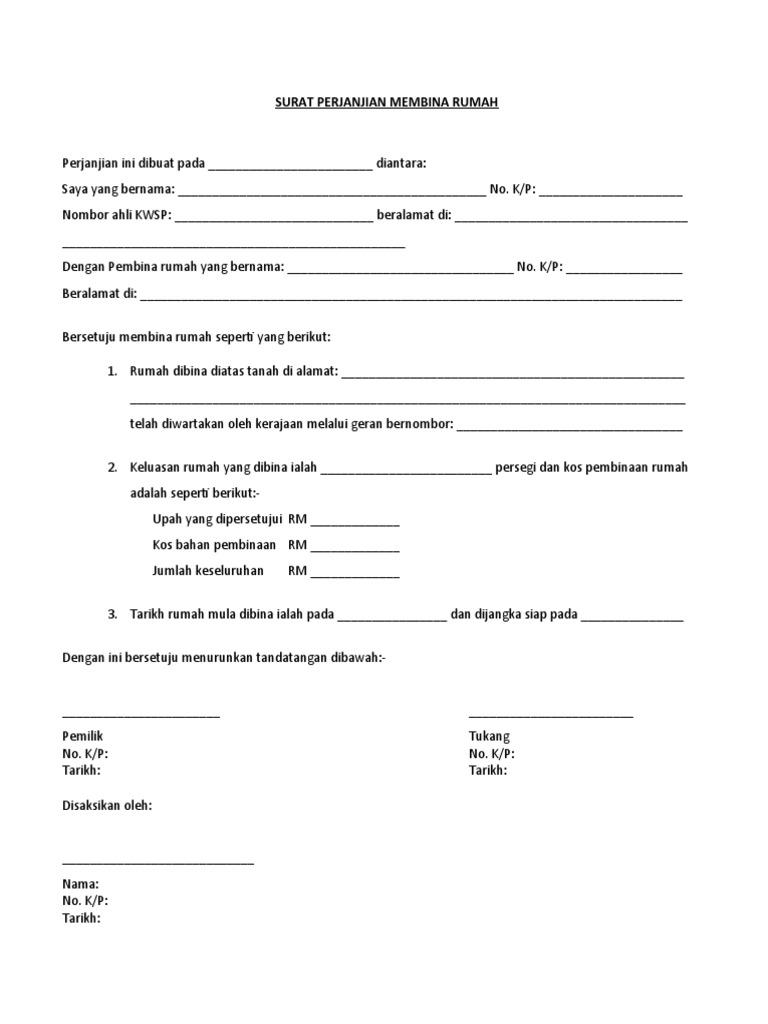 Fabulous Surat Perjanjian Membina Rumah Wiring Database Denligelartorg