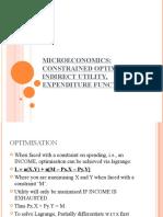 Constrained Optimisation, Indirect Utility, Expenditure Function