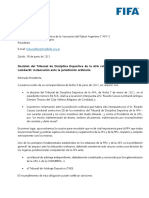 Carta de FIFA Para El Tribunal de Disciplina Deportiva de La AFA
