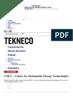 CSET - Centre for Sustainable Energy Technologies _ Carte de projet