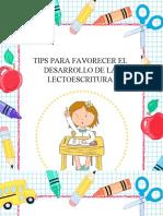 TIPS PARA FAVORECER EL DESARROLLO DE LA LECTOESCRITURA