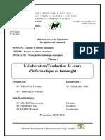 L'élaborationTraduction de cours d'informatique en tamazight