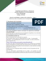 Guia de actividades y Rúbrica de evaluación Fase1 - Reflexionar sobre la importanca de la investigación Etnográfica