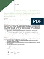 EXAME - Química Orgânica I - 2020