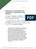 Indicadores de desempenho de recebimento_ programado versus realizado
