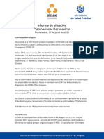 Informe de situación sobre coronavirus COVID-19 en Uruguay (19 06 2021)