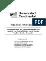 Implementación de una Planta Fotocatalítica Solar acoplada a un Reactor Biológico para la Empresa Textil La Grande - Concepción