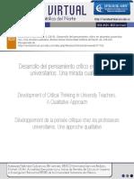 Betancourth (2015) - Desarrollo Del Pensamiento Crítico en Docentes Universitarios. Una Mirada Cualitativa
