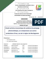[16] Etude technico-économique de système de pompage photovoltaïque, en comparaison aux autres productions d'eau, cas de la région de Mostaganem