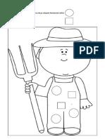 Colorează figurile geometrice de pe salopeta fermierului astfel