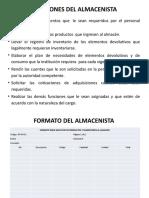 FUNCIONES DEL ALMACENISTA