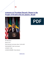 Remarks by President Barack Obama to the People of Brazil in Rio de Janeiro, Brazil