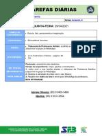 TAREFAS DIÁRIAS - Infantil 4 - 29 de Abril