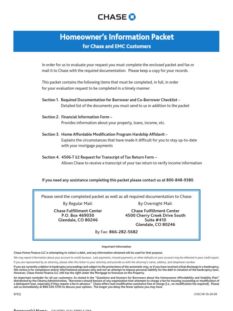 Chase Loan Modification Packet Loans – Chase Fax Cover Sheet