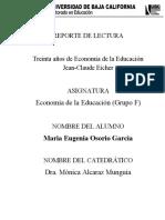 REPORTE DE LECTURA No 1 ECONOMIA DE LA EDUCACION