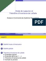 Méthode de Lyapunov Et Théorème d Invariance de LaSalle