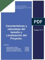 Características y Naturaleza Del Tamaño y Localización Del Proyecto. - Grupo 4