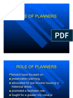Role of Planners