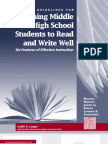 guidelines for teaching MS & HS students to read and write well