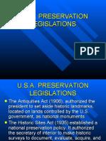 U.S.A. PRESERVATION LEGISLATIONS