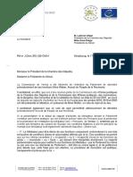 Lettre de M Gianni BUQUICCHIO, Président de la Commission de Venise