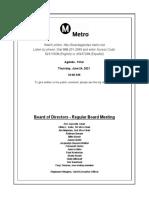 Metro Board of Directors agenda June 2021 meeting