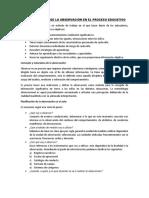 La Importancia de La Observación en El Proceso Educativo - Resumen