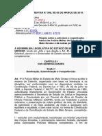 LC 386 de 05-03-2010 - Estrutura e Organização básica da Polícia Militar Atualizada