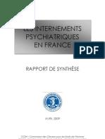 Les internements psychiatriques en France - rapport de synthèse 2009