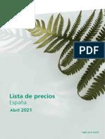 202106 Sylvania Lista de Precios Abril 2021 España
