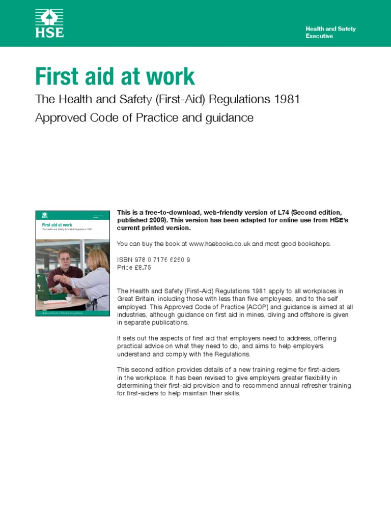 First Aid At Work Regulations Acop