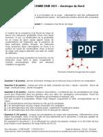 Physique-chimie Dnb 2021 - Amerique Du Nord