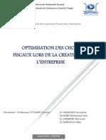 Optimisation Des Choix Fiscaux Lors de La Creation de l'Entreprise