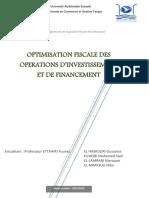 L'Optimisation Fiscale Des Opérations d'Investissement Et Financement