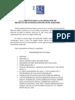 Lineamientos Para La Elaboración de Proyecto de Investigación Maestria