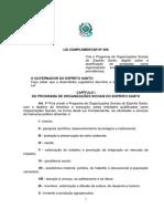 LEI COMPLEMENTAR 489 - CRIA O PROGRAMA DE ORGANIZAÇÕES SOCIAIS DO ES