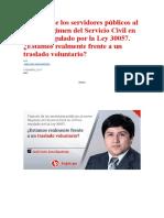 Tránsito de los servidores públicos al nuevo Régimen del Servicio Civil en el Perú regulado por la Ley 30057
