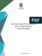 Tecnicas de evaluacion en Psicologia Comunitaria
