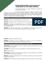 LE CODE DE CONDUITE PROFESSIONNELLE DES ENSEIGNANTS