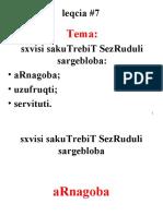 Sanivtoprezentacia Leqcia 7 Agnagoba Uzufruqtu Servituti