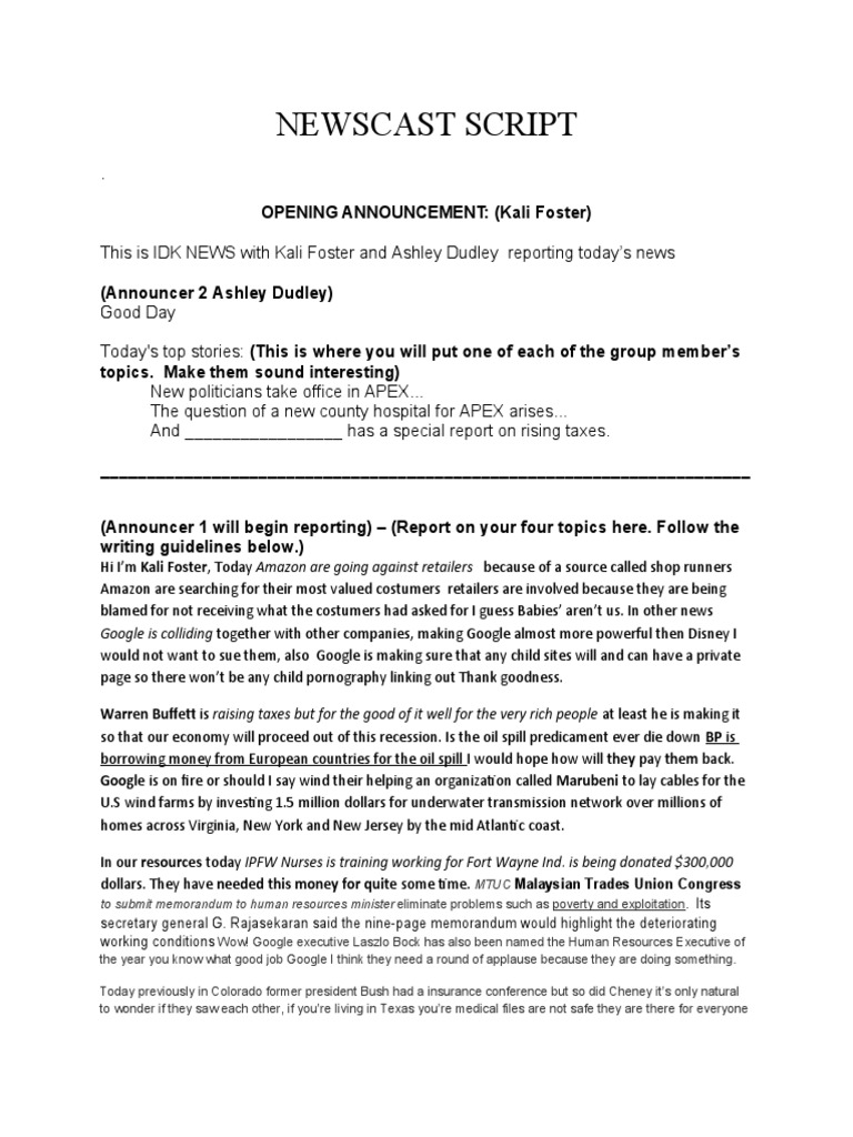 Newscast script template google pronofoot35fo Gallery