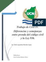 SEMEJANZAS Y DIFERENCIAS DE LA PRENDA Y LA LEY 936