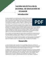 LA EDUCACIÓN HOLÍSTICA EN EL SISTEMA NACIONAL DE EDUCACIÓN DE ECUADOR