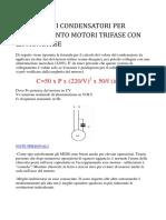 Calcolo Dei Condensatori Per Collegamento Monofase