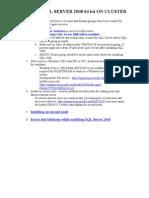 INSTALL SQL SERVER 2008 ON CLUSTER SERVERS