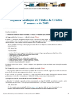 Provas Resolvidas - Empresarial III - Títulos de Crédito - 2° prova do 1° semestre de 2009