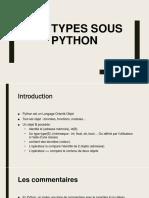 Les Types sous Python