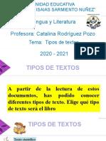 LENGUA Y LITERATURA TIPOS DE TEXTOS semana3