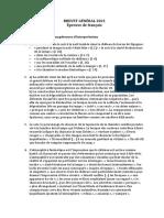 Brevet General Francais Corrige