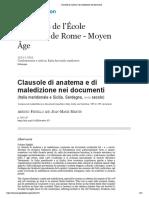 (Feniello - Martin, Clausole di anatema e di maledizione nei documenti (Italia meridionale e Sicilia, Sardegna, x-xii secolo))